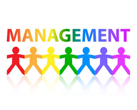multiracial: Management cut out paper people chain in rainbow colors  Illustration