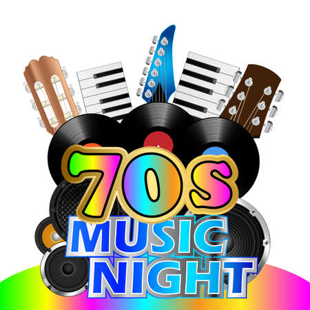 seventies: Vinyl records and instruments background for seventies music night