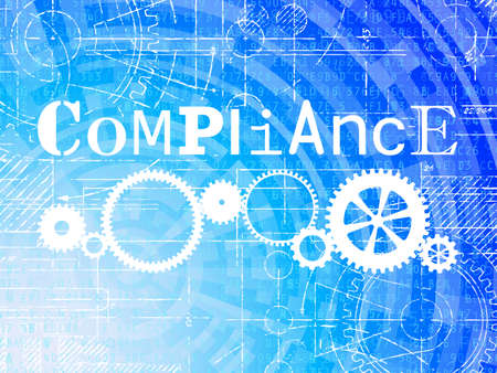 Compliance word on high tech blueprint and data background