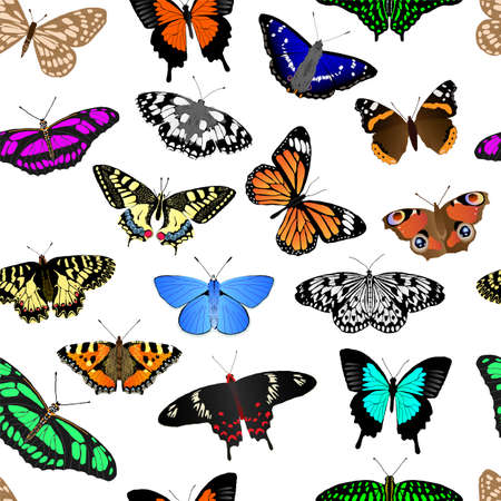 Butterflies wallpaper. Tillable vector pattern that repeats up, down, left and right
