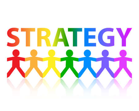 Strategy cut out paper people chain in rainbow colors