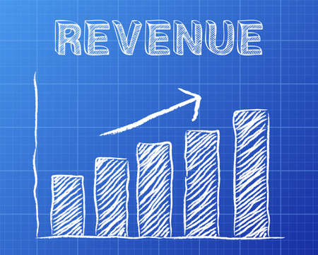 Increasing graph and revenue word on blueprint background