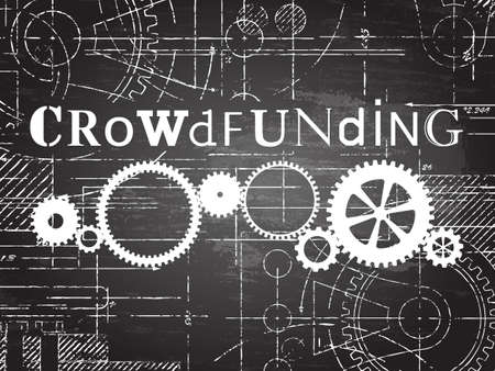 Crowdfunding sign and gear wheels technical drawing on blackboard background
