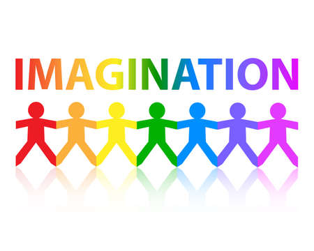 Imagination cut out paper people chain in rainbow colors