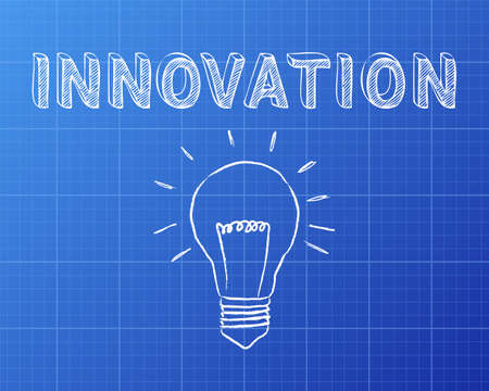 invent: Hand drawn innovation sign and lightbulb on blueprint background Illustration