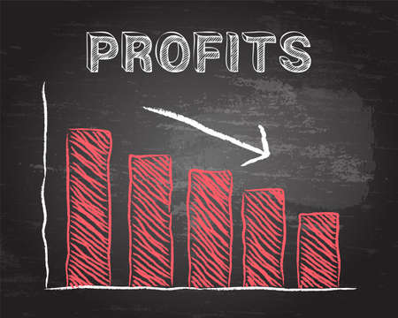 display: Decreasing graph and profits word on blackboard background