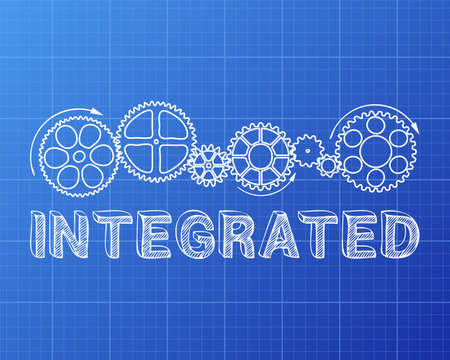 consolidation: Integrated text with gear wheels hand drawn on blueprint background Illustration