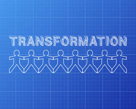 Transformation text hand drawn with paper people on blueprint background Ilustração