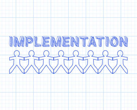 Implementation text hand drawn with paper people on graph paper background