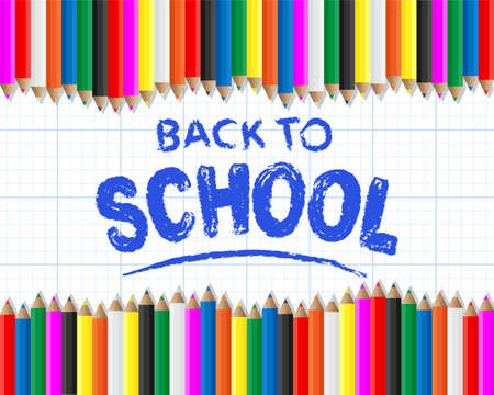 Back to school hand drawn on graph paper background with colored pencils