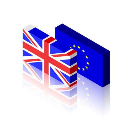 European Union and United Kingdom three dimensional flags
