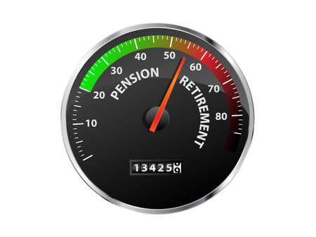 approaching: Speedometer showing pension and retirement age approaching Illustration