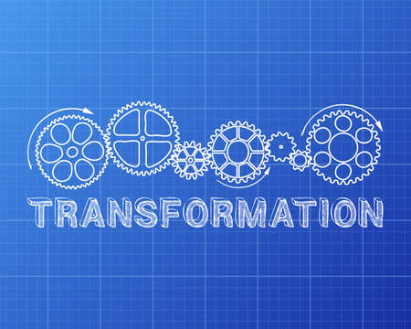 adapting: Transformation text with gear wheels hand drawn on blueprint Illustration