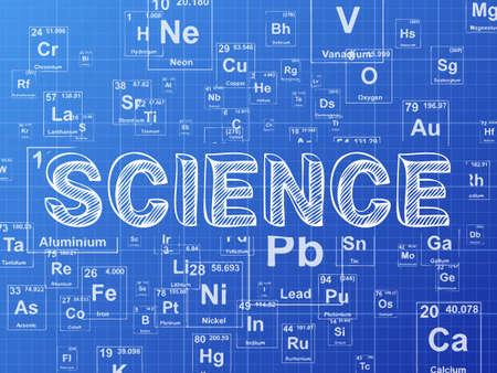 Science word on periodic table symbols blueprint