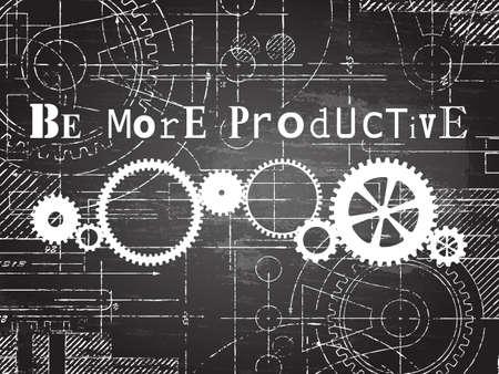 生産的な看板と黒板背景上ギヤ車輪技術を描画
