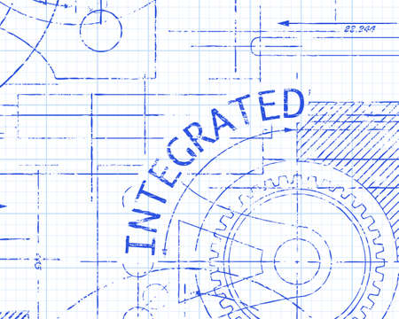 consolidation: Integrated text with gear wheels hand drawn on graph paper technical drawing background Illustration