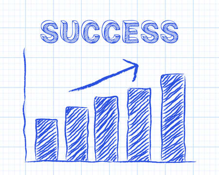 achieve goal: Increasing graph and success word on graph paper background Illustration