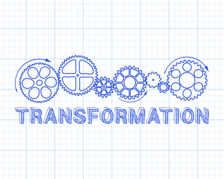 adapting: Transformation text with gear wheels hand drawn on graph paper background