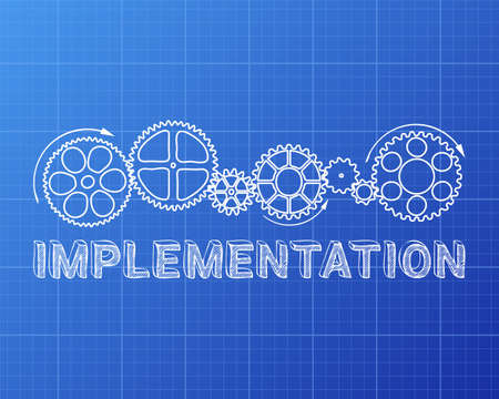 Implementation text with gear wheels hand drawn on blueprint background Illustration