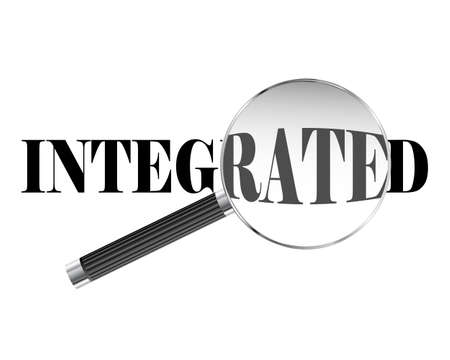 consolidation: Integrated text viewed under magnifying glass illustration