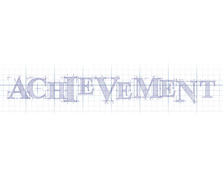 targets: Achievement word in technical drawing on graph paper Illustration