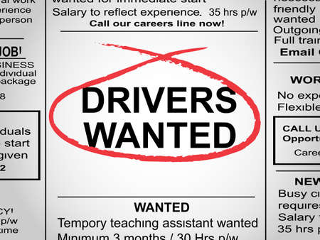 Newspaper clipping with drivers wanted circled in red pen Illustration