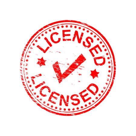 licensed: Licensed grungy rubber stamp symbol