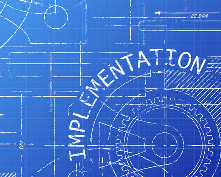 Implementation text with gear wheels hand drawn on blueprint technical drawing background