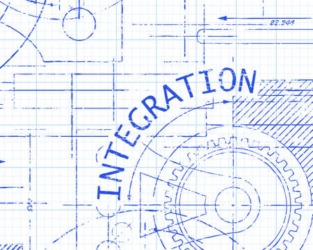 consolidated: Integration text with gear wheels hand drawn on graph paper technical drawing background Illustration