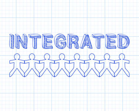 consolidated: Integrated text hand drawn with paper people on graph paper background