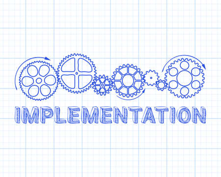 execute: Implementation text with gear wheels hand drawn on graph paper background