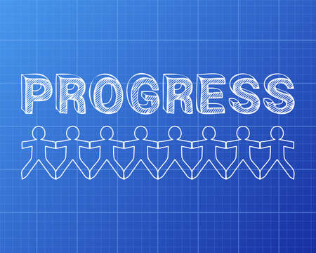 Progress text hand drawn with paper people on blueprint background progress text hand drawn with paper people on blueprint background stock vector 77031384 malvernweather Choice Image