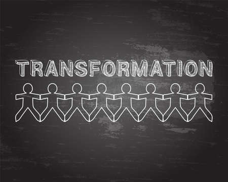 Transformation text hand drawn with paper people on blackboard background