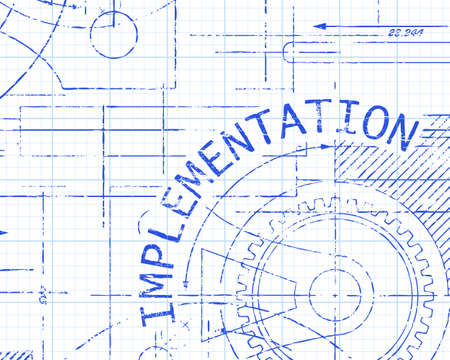 Implementation text with gear wheels hand drawn on graph paper technical drawing background