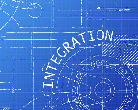 integrate: Integration text with gear wheels hand drawn on blueprint technical drawing background
