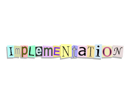Implementation word in torn paper letters text