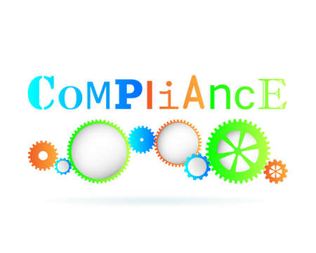 regulated: Compliance word above modern gear wheels