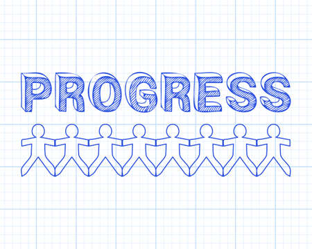 Progress text hand drawn with paper people on graph paper background Ilustração
