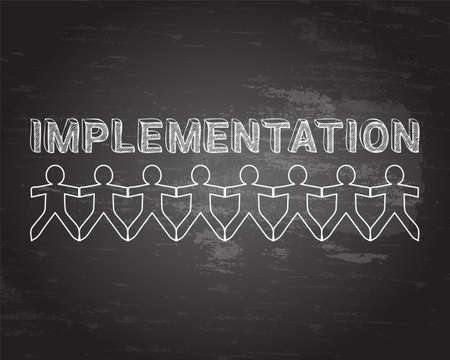 execute: Implementation text hand drawn with paper people on blackboard background
