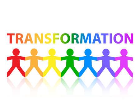 Transformation cut out paper people chain in rainbow colors Ilustração