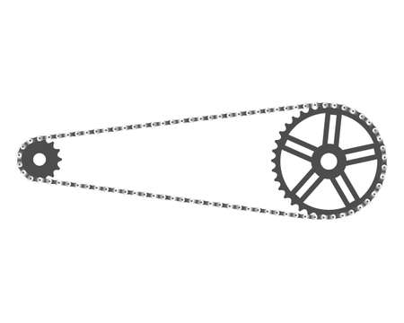 sprockets: Bicycle chain and front and rear sprockets
