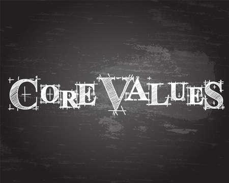 Core values text hand drawn on blackboard background Ilustração