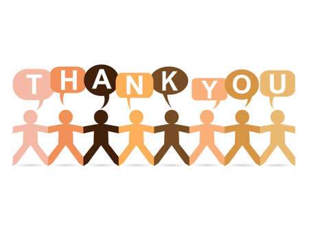 Cut out paper people in different skin tone colors with happy thank you text