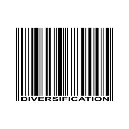 Diversification word and barcode icon