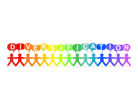 Diversification word in speech bubbles with cut out paper people chain in rainbow colors Illustration
