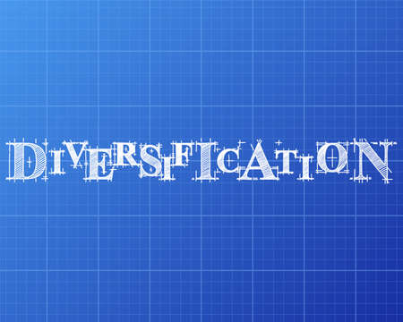 Diversification text hand drawn on blueprint background