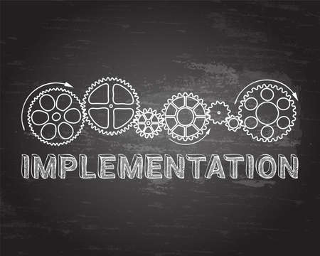 Implementation text with gear wheels hand drawn on blackboard background Illustration
