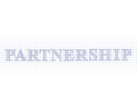 Partnership text hand drawn on blueprint background royalty free partnership word in technical drawing on graph paper vector malvernweather Choice Image
