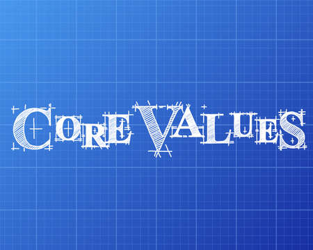 Core values text hand drawn with paper people on blueprint core values text hand drawn on blueprint background vector malvernweather Gallery