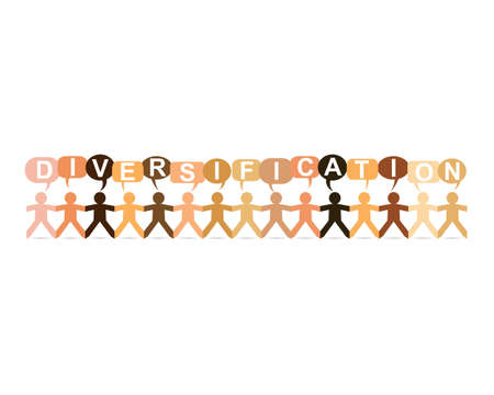 Diversification word in speech bubbles with cut out paper people chain in different skin tone colors Illustration